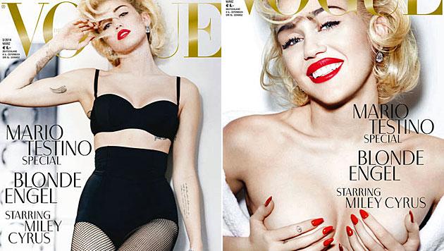 Miley Cyrus nur in Dessous auf der Bühne (Bild: Vogue/Mario Testino)