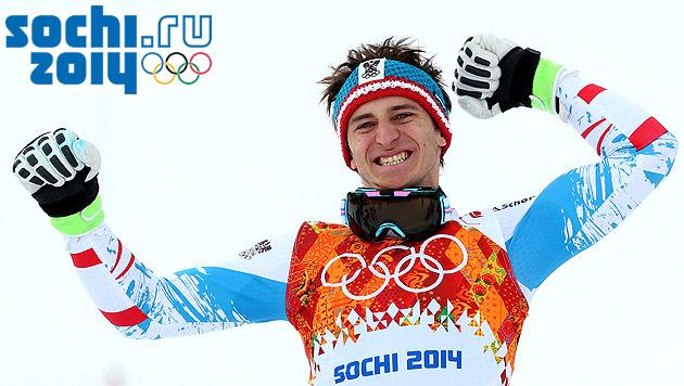 GOLD! Matthias Mayer triumphiert in der Abfahrt (Bild: APA/EPA/ANTONIO BAT)