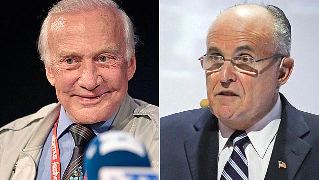Aldrin & Giuliani im Anflug - und beim Opernball? (Bild: CRISTOBAL GARCIA/EPA/picturedesk.com, APA/EPA/PAWEL SUPERNAK)