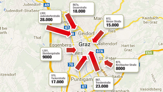 92.000 pendeln täglich nach Graz - SP für Citymaut (Bild: Krone-Grafik, Quelle: Land Steiermark)