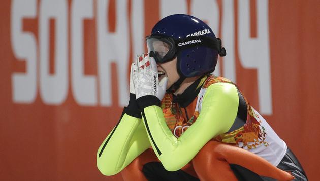 Silbermedaille für Daniela Iraschko-Stolz (Bild: AP)