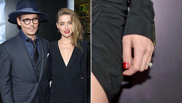 Am roten Teppich präsentierte Amber Heard ihren Verlobungsring. (Bild: John Shearer/Invision/AP)