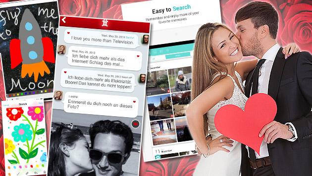 Das sind die besten Handy-Apps für Verliebte (Bild: Google Play Store, iTunes App Store, thinkstockphotos.de)