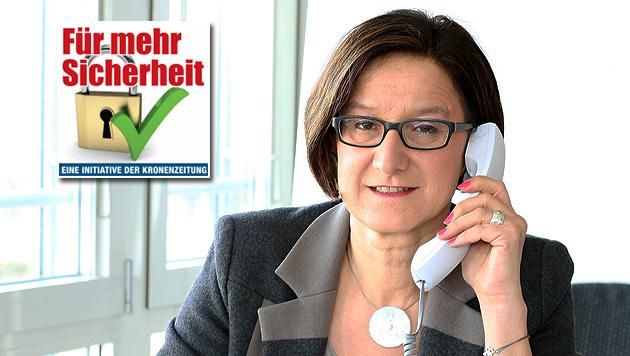 """Ministerin: """"Gemeinsam Österreich sicherer machen"""" (Bild: Zwefo, krone.at-Grafik)"""