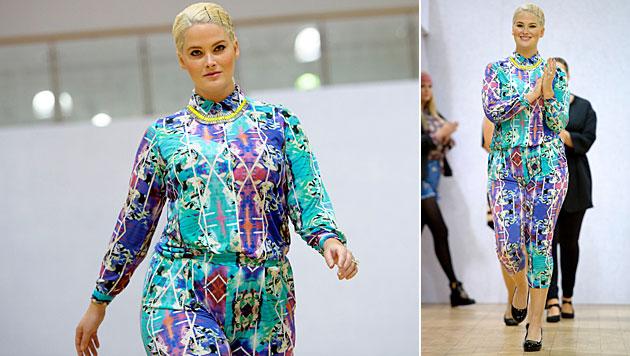 Hayley Hasselhoff bei der britischen Plus-Size-Fashion-Week (Bild: Jonathan Short/Invision/AP)