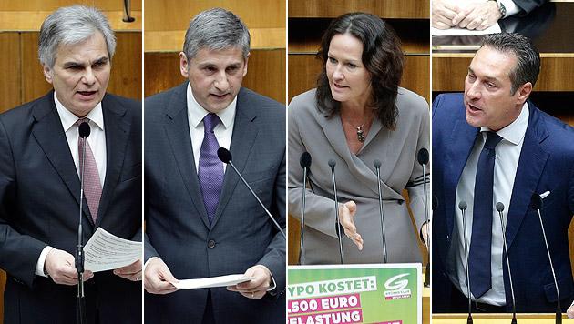 """Hypo-Sitzung als """"Wettbewerb der Beschimpfungen"""" (Bild: APA/GEORG HOCHMUTH)"""