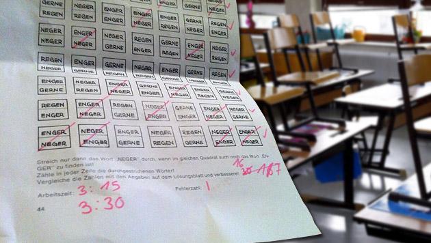 """""""Neger"""" in Testunterlagen: Lehrerin wird befragt (Bild: twitter.com/Simon Inou, APA/HARALD SCHNEIDER, krone.at-Grafik)"""