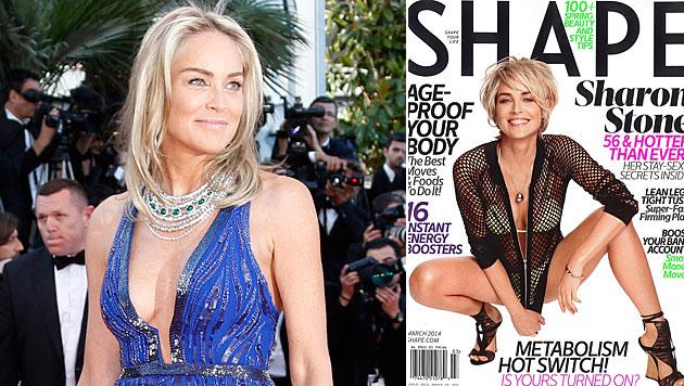 Sharon Stone mit 55 als Bikini-Beauty auf Cover (Bild: EPA, Shape)