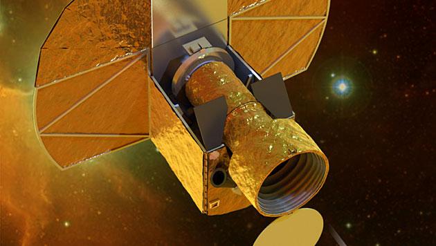 Künstlerische Illustration des Weltraumteleskops CHEOPS (Bild: ESA/Universität Bern)