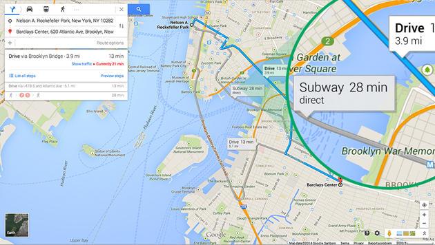 Google verpasst Kartendienst Maps neues Design (Bild: Google)