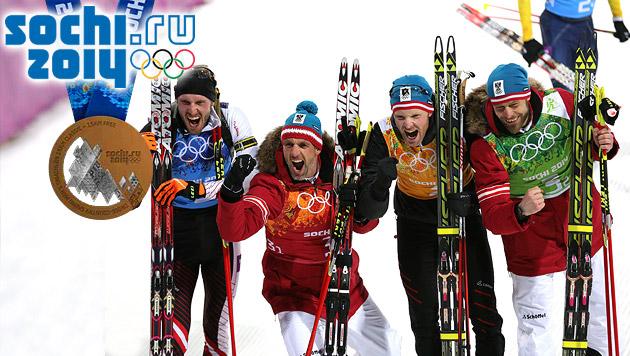 "Biathlon-Staffel: ""Bronze macht uns so stolz!"" (Bild: APA/EPA/ARMANDO BABANI, sochi2014.com)"