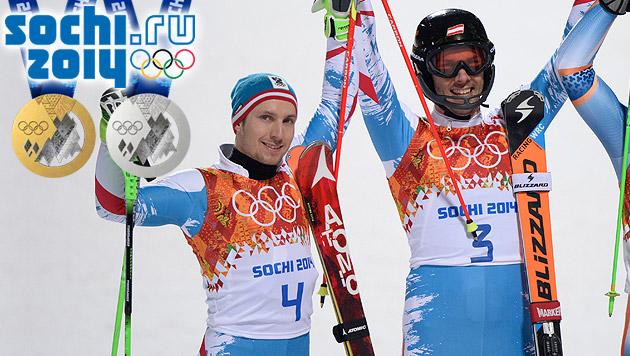 Matt und Hirscher holen Gold und Silber (Bild: APA/HANS KLAUS TECHT, sochi2014.com)