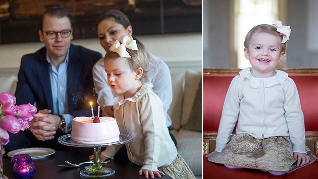 Prinzessin Estelle entzückt die Gratulanten-Schar (Bild: Kate Gabor/Kungahuset.se)