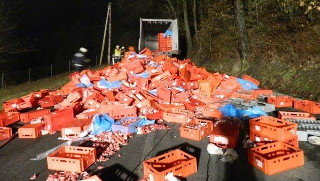 Stmk: 13 Tonnen Rindfleisch blockierten Straße (Bild: FF Kirchberg an der Raab)