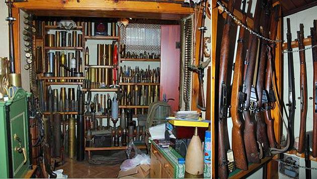 Illegales Waffenlager in Einfamilienhaus entdeckt (Bild: APA/LPD NÖ)