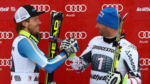 Georg Streitberger siegt zeitgleich mit Jansrud (Bild: AP)