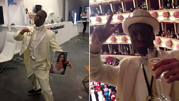 Puls-4-Moderator Chris Stephan schockte Kardashian beim Opernball. (Bild: Puls 4)