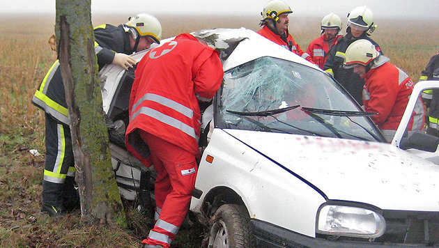 Auto kracht in NÖ gegen Baum: Beifahrerin (16) tot (Bild: APA/FREIWILLIGE FEUERWEHR POTTEN)