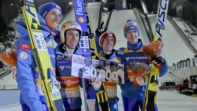 ÖSV-Adler gewinnen Team-Bewerb vor Deutschland (Bild: EPA)