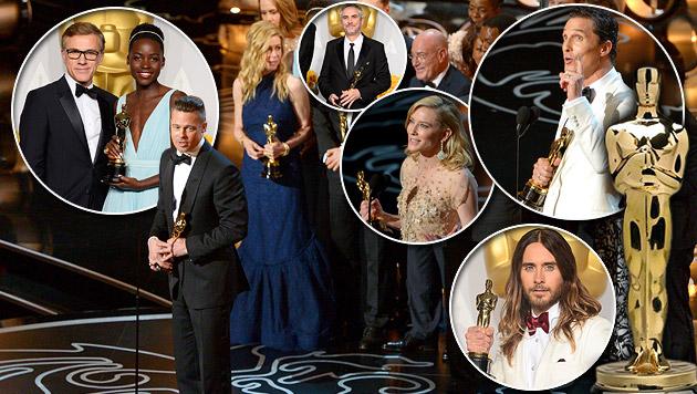Die Oscar-Preisträger 2014. (Bild: John Shearer/Invision/AP, APA/EPA/PAUL BUCK, krone.at-Grafik)