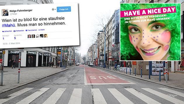 """Fans der """"Mahü"""" ätzen im Web: """"Wien ist zu blöd"""" (Bild: Gerhard Bartel, Twitter.com, Privat)"""