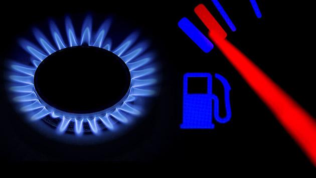 Höhere Gas- und Benzinpreise wegen Krim-Krise? (Bild: APA/dpa/Arno Burgi, thinkstockphotos.de, krone.at-Grafik)