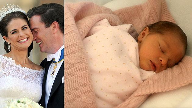 Das erste Foto von Prinzessin Leonore, die im Februar 2014 geboren wurde. (Bild: APA/dpa/Carsten Rehder, kungahuset.se)