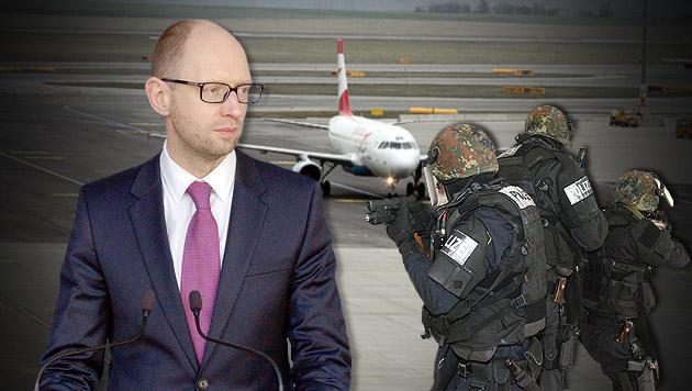 Terroralarm um ukrainischen Premier in Schwechat (Bild: ANDI SCHIEL, AP, Klaus Kreuzer, krone.at-Grafik)