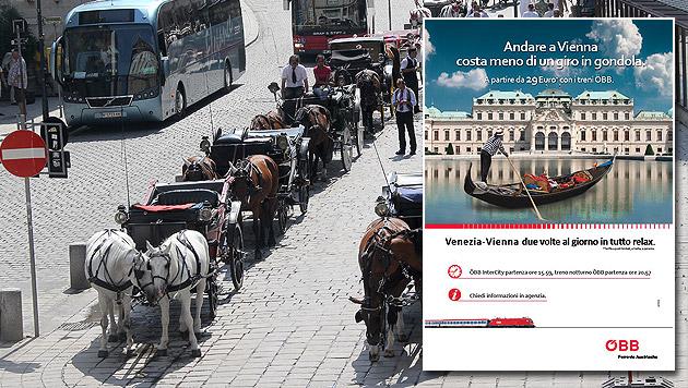 Werbeplakat der ÖBB stößt Gondolieri sauer auf (Bild: Peter Tomschi, ÖBB)