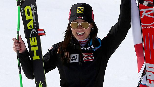 Anna Fenninger holt den Gesamtweltcup (Bild: AP)