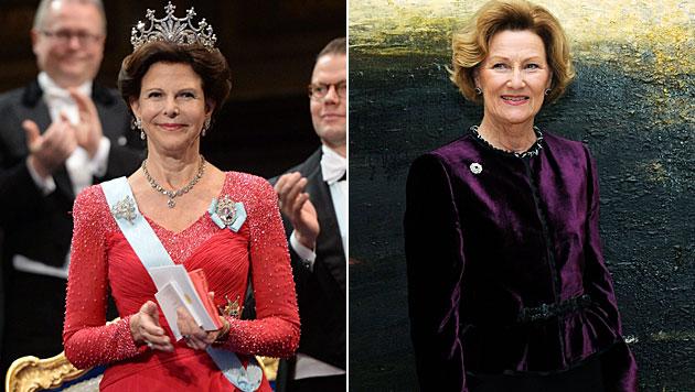 Königin Silvia und Königin Sonja geheim in Wien (Bild: APA/EPA/Fredrik Sandberg, EPA)