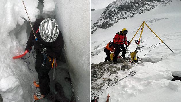 Sbg: Zwei Tourengeher in Gletscherspalte gestürzt (Bild: Bergrettung Krimml)