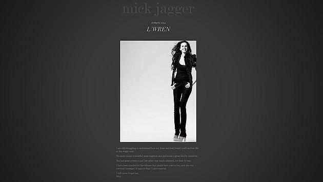 """Jagger trauert: """"Ich werde sie niemals vergessen"""" (Bild: Screenshot mickjagger.com)"""