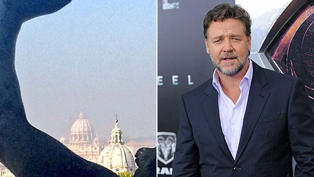 """""""Noah"""" Russell Crowe durfte Papst treffen (Bild: twitter.com, EPA)"""