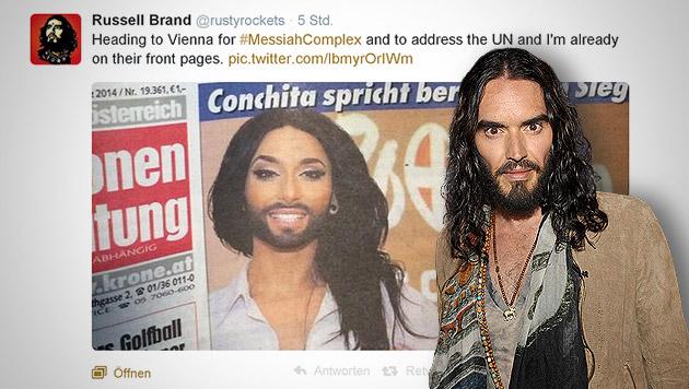 Russell Brand gibt sich für Conchita Wurst aus (Bild: twitter.com/rustyrockets, AP, krone.at-Grafik)