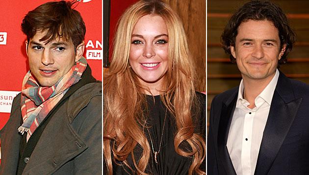 Lohan vergnügte sich auch mit Kutcher und Bloom (Bild: GEORGE FREY/EPA/picturedesk.com, AFP, Evan Agostini/Invision/AP)