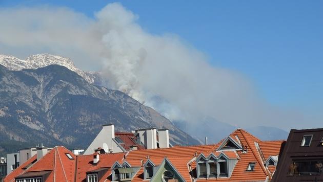 Waldbrand in Tirol: Kampf gegen Glutnester (Bild: ÖA FF Telfs/Thomas Hagele)