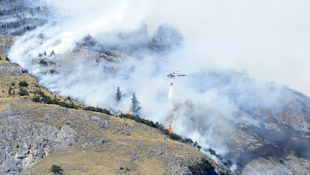 Waldbrand in Tirol: Kampf gegen Glutnester (Bild: APA/ZEITUNGSFOTO.AT/DANIEL LIEBL)