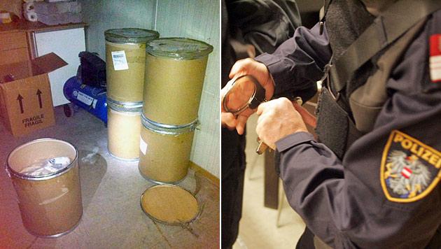 Bande schleuste 1,2 Tonnen an Suchtgift-Zutaten (Bild: APA/LICHBILDER LPD BURGENLAND, Andi Schiel)