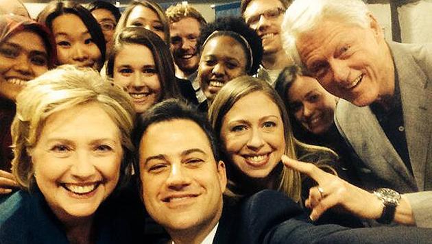 Komiker Jimmy Kimmel: Selfie mit den Clintons (Bild: Twitter.com)