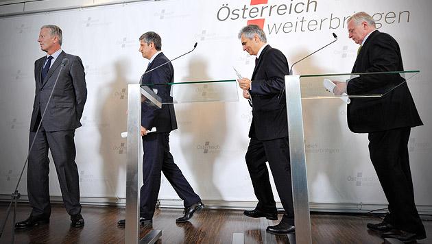 Hypo-U-Ausschuss: Minister rühren erneut Beton an (Bild: APA/HERBERT NEUBAUER, krone.at-Grafik)