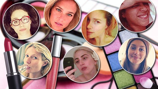 Selfie-Trend: Promis zeigen sich ungeschminkt (Bild: Instagram.com, Twitter.com, thinkstockphotos.de, krone.at-Grafik)