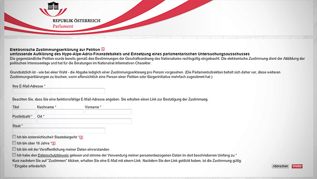 Hypo-Petition für U-Ausschuss bricht alle Rekorde (Bild: Screenshot parlament.gv.at)