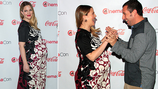 Drew Barrymore und ihr gelber Riesen-Babybauch (Bild: Chris Pizzello/Invision/AP)