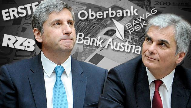 Banker wollen Aus: Neuer Kampf um Bankensteuer (Bild: thinkstockphotos.de, APA/ROLAND SCHLAGER, krone.at-Grafik)