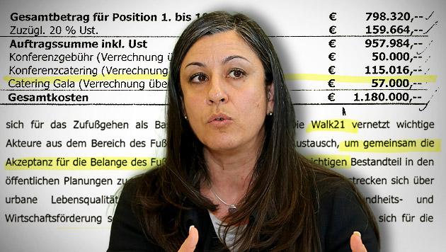 """""""Fußgänger-Kongress"""": 77.000 Euro für ein Dinner (Bild: Peter Tomschi, """"Krone"""", krone.at-Grafik)"""