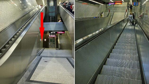 Von dieser Rolltreppe stürzte der 20-Jährige rund fünf Meter in die Tiefe. (Bild: Peter Tomschi)
