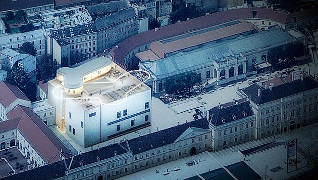 """Am Dach des Leopold Museums landet die """"Libelle"""" (Bild: A2Studio)"""