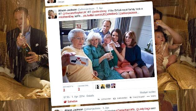 Queen schießt ihr erstes Selfie - oder doch nicht? (Bild: Screenshot twitter.com/alisonjackson)