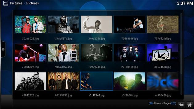 Bilder können von der lokalen Festplatte oder Online-Diensten aufs TV-Gerät geholt werden. (Bild: xbmc.org)